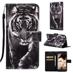 Black and White Tiger Matte Leather Wallet Phone Case for LG Aristo 2