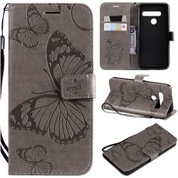 Embossing 3D Butterfly Leather Wallet Case for LG G8s ThinQ - Gray