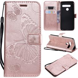 Embossing 3D Butterfly Leather Wallet Case for LG G8s ThinQ - Rose Gold