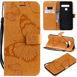 Embossing 3D Butterfly Leather Wallet Case for LG G8s ThinQ - Yellow