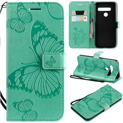 Embossing 3D Butterfly Leather Wallet Case for LG G8s ThinQ - Green