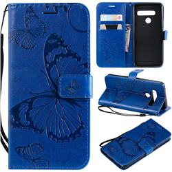 Embossing 3D Butterfly Leather Wallet Case for LG G8s ThinQ - Blue