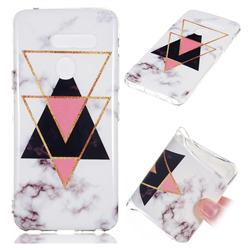 Inverted Triangle Black Soft TPU Marble Pattern Phone Case for LG G8 ThinQ (LG G8s ThinQ)
