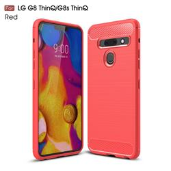 Luxury Carbon Fiber Brushed Wire Drawing Silicone TPU Back Cover for LG G8 ThinQ (G8s ThinQ) - Red