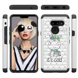 Tiny Unicorn Studded Rhinestone Bling Diamond Shock Absorbing Hybrid Defender Rugged Phone Case Cover for LG G8 ThinQ