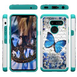 Flower Butterfly Studded Rhinestone Bling Diamond Shock Absorbing Hybrid Defender Rugged Phone Case Cover for LG G8 ThinQ