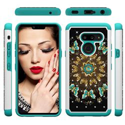 Golden Butterflies Studded Rhinestone Bling Diamond Shock Absorbing Hybrid Defender Rugged Phone Case Cover for LG G8 ThinQ