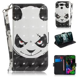 Angry Bear 3D Painted Leather Wallet Phone Case for LG G8 ThinQ (LG G8s ThinQ)