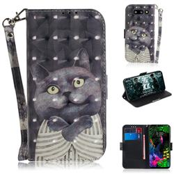 Cat Embrace 3D Painted Leather Wallet Phone Case for LG G8 ThinQ (LG G8s ThinQ)