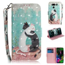 Black and White Cat 3D Painted Leather Wallet Phone Case for LG G8 ThinQ (LG G8s ThinQ)