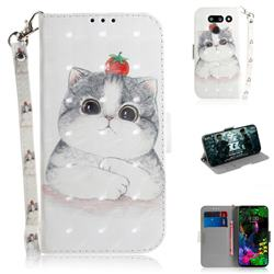 Cute Tomato Cat 3D Painted Leather Wallet Phone Case for LG G8 ThinQ (LG G8s ThinQ)