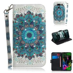Peacock Mandala 3D Painted Leather Wallet Phone Case for LG G8 ThinQ (LG G8s ThinQ)