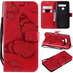 Embossing 3D Butterfly Leather Wallet Case for LG G8 ThinQ - Red