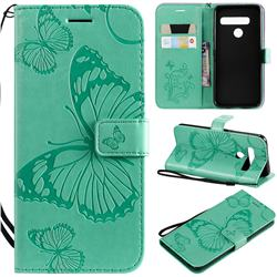 Embossing 3D Butterfly Leather Wallet Case for LG G8 ThinQ - Green