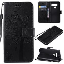 Embossing Butterfly Tree Leather Wallet Case for LG G8 ThinQ (G8s ThinQ) - Black