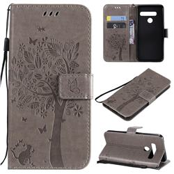 Embossing Butterfly Tree Leather Wallet Case for LG G8 ThinQ (G8s ThinQ) - Grey