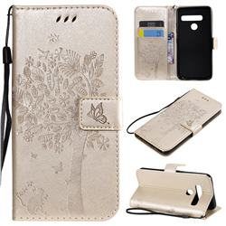 Embossing Butterfly Tree Leather Wallet Case for LG G8 ThinQ (G8s ThinQ) - Champagne