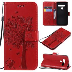 Embossing Butterfly Tree Leather Wallet Case for LG G8 ThinQ (G8s ThinQ) - Red