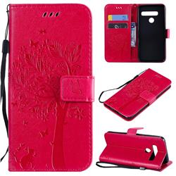 Embossing Butterfly Tree Leather Wallet Case for LG G8 ThinQ (G8s ThinQ) - Rose