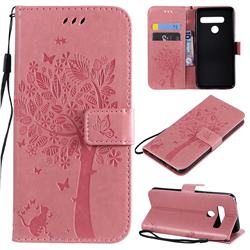 Embossing Butterfly Tree Leather Wallet Case for LG G8 ThinQ (G8s ThinQ) - Pink