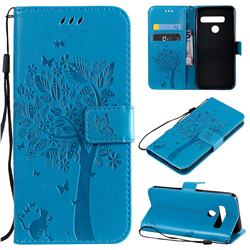Embossing Butterfly Tree Leather Wallet Case for LG G8 ThinQ (G8s ThinQ) - Blue