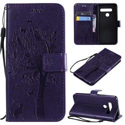 Embossing Butterfly Tree Leather Wallet Case for LG G8 ThinQ (G8s ThinQ) - Purple