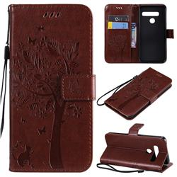 Embossing Butterfly Tree Leather Wallet Case for LG G8 ThinQ (G8s ThinQ) - Coffee