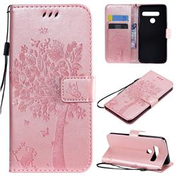 Embossing Butterfly Tree Leather Wallet Case for LG G8 ThinQ (G8s ThinQ) - Rose Pink