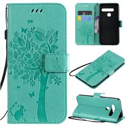 Embossing Butterfly Tree Leather Wallet Case for LG G8 ThinQ (G8s ThinQ) - Cyan