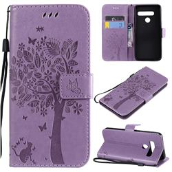 Embossing Butterfly Tree Leather Wallet Case for LG G8 ThinQ (G8s ThinQ) - Violet