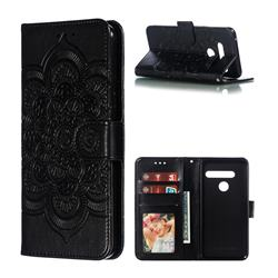 Intricate Embossing Datura Solar Leather Wallet Case for LG G8 ThinQ (G8s ThinQ) - Black