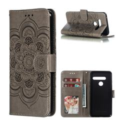 Intricate Embossing Datura Solar Leather Wallet Case for LG G8 ThinQ (G8s ThinQ) - Gray