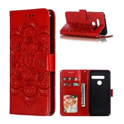 Intricate Embossing Datura Solar Leather Wallet Case for LG G8 ThinQ - Red