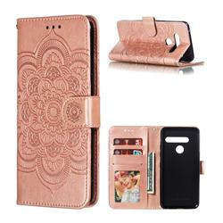 Intricate Embossing Datura Solar Leather Wallet Case for LG G8 ThinQ (G8s ThinQ) - Rose Gold