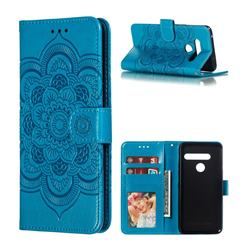 Intricate Embossing Datura Solar Leather Wallet Case for LG G8 ThinQ (G8s ThinQ) - Blue