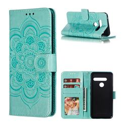 Intricate Embossing Datura Solar Leather Wallet Case for LG G8 ThinQ - Green