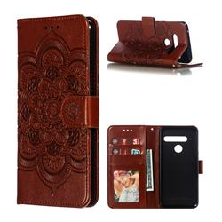 Intricate Embossing Datura Solar Leather Wallet Case for LG G8 ThinQ (G8s ThinQ) - Brown