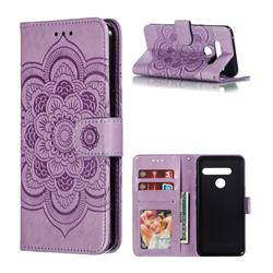 Intricate Embossing Datura Solar Leather Wallet Case for LG G8 ThinQ (G8s ThinQ) - Purple