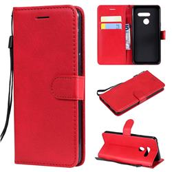Retro Greek Classic Smooth PU Leather Wallet Phone Case for LG G8 ThinQ (G8s ThinQ) - Red
