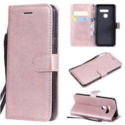 Retro Greek Classic Smooth PU Leather Wallet Phone Case for LG G8 ThinQ - Rose Gold