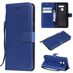 Retro Greek Classic Smooth PU Leather Wallet Phone Case for LG G8 ThinQ (G8s ThinQ) - Blue