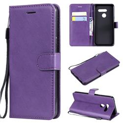 Retro Greek Classic Smooth PU Leather Wallet Phone Case for LG G8 ThinQ - Purple