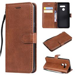 Retro Greek Classic Smooth PU Leather Wallet Phone Case for LG G8 ThinQ - Brown