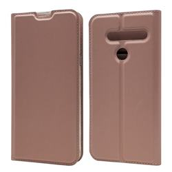 Ultra Slim Card Magnetic Automatic Suction Leather Wallet Case for LG G8 ThinQ - Rose Gold