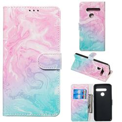 Pink Green Marble PU Leather Wallet Case for LG G8 ThinQ (G8s ThinQ)