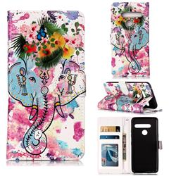 Flower Elephant 3D Relief Oil PU Leather Wallet Case for LG G8 ThinQ (G8s ThinQ)