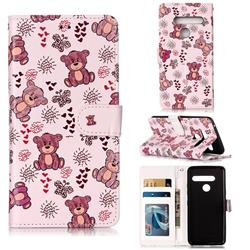 Cute Bear 3D Relief Oil PU Leather Wallet Case for LG G8 ThinQ (G8s ThinQ)