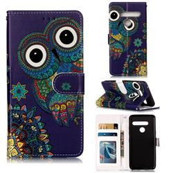 Folk Owl 3D Relief Oil PU Leather Wallet Case for LG G8 ThinQ (G8s ThinQ)