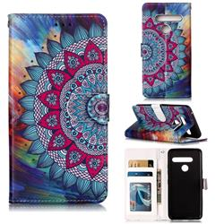 Mandala Flower 3D Relief Oil PU Leather Wallet Case for LG G8 ThinQ (G8s ThinQ)