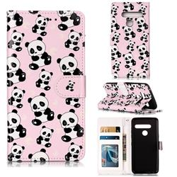 Cute Panda 3D Relief Oil PU Leather Wallet Case for LG G8 ThinQ (G8s ThinQ)